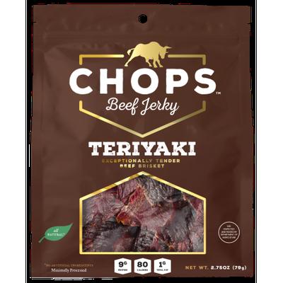 Chops Snacks Chops Beef Jerky, Teriyaki, 2.75 Oz, 8 Ct