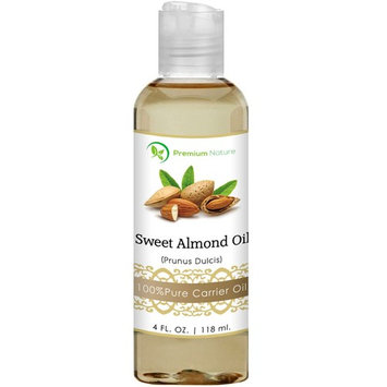 Sweet Almond Oil Carrier Oil - Cold Pressed Pure Natural Body Massage Oils for Essential Oils Mixing, Baby Oil Dry Skin Face Moisturizer Eye Makeup Remover Healthy Nails Cleansing Properties 4 oz