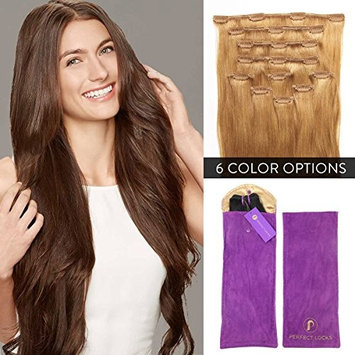Premium Straight Clip In Hair Extensions Set   Add Volume with 100% Remy Human Hair 7 Piece Clip On Set   22 Inch Clip Ins   #27 Honey Blonde   155 grams per set
