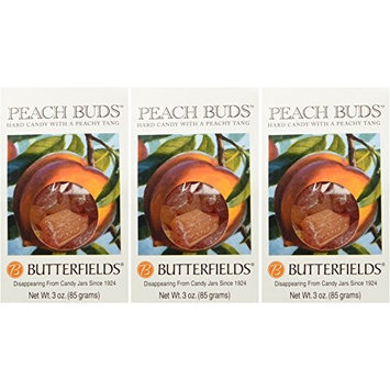 Butterfields Candy - Gourmet, Old-Fashioned Peach Buds Hard Candy, 3 Oz (3 Pack)   Gluten Free   Made with 100% Real, Pure Cane Sugar   Handcrafted in the USA