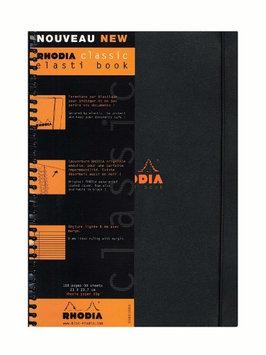 Rhodia Wirebound Black Elasti Book 9 x 11