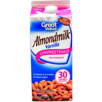 Great Value Unsweetened Vanilla Almond Milk, 64 fl oz