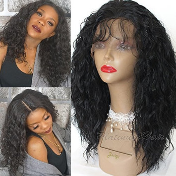 PlatinumHair handmade kinky curly synthetic lace fornt wigs heat resistant fiber hair for black women 16
