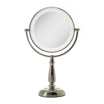 Zadro Ultra Bright Dual-Sided LED Lighted Vanity Make Up Mirror with 1X & 5X magnification in Polished Nickel Finish.