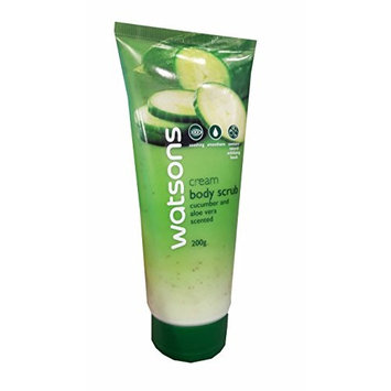Watsons Cucumber and Aloe Vera Scented Cream Body Scrub. Soothing, Smoothens, Contains natural exfoliating beads. (200 g/pack)