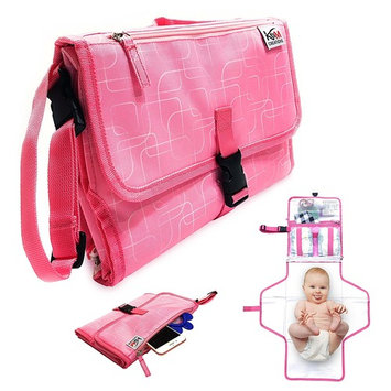 Portable Diaper Changing Pad for Baby to Toddler - Waterproof Cushioned Mat and Built in Head Pillow, 3 Pockets - Wipeable - Lightweight On The Go Diapering Solution - Stylish Unique Design - Pink