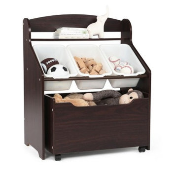 Tot Tutors Kids 3-Tier Storage Organizer with Rolling Toy Box, Espresso/White