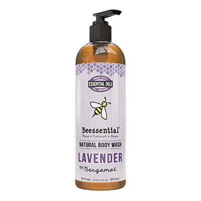 Beessential Natural Body Wash, Lavender, Sulfate-Free Bath and Shower Gel with Essential Oils for Men & Women, 16 oz