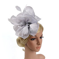 Voberry Fascinator Hat for Women Penny Ribbon Feather Headband Cocktail Tea Party Headwear