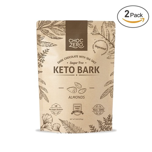 ChocZero's Keto Bark, Dark Chocolate Almonds with Sea Salt. 100% Stone-Ground, Sugar Free, Low Carb. No Sugar Alcohols, No Artificial Sweeteners, All Natural, Non-GMO (2 boxes, 6 bars/each)
