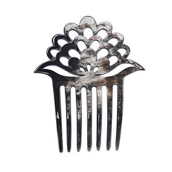 Marycrafts Lotus Flower Buffalo Horn 7 Prongs Hair Fork, Hair Side Comb, Hair Pin, Hair Accessory Toy Handmade