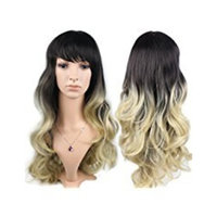 Whalesoon Long Curly Wavy Ombre Blonde Cosply Wig Synthetic Long Hair with Side Bangs Hairstyles (Ombre Blonde)