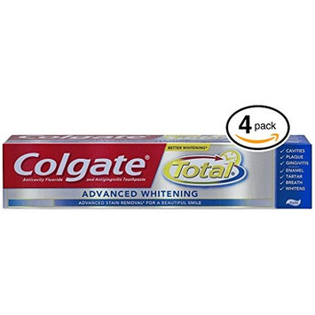 (PACK OF 4 TUBES) Colgate Total ADVANCED TOOTH WHITENING Toothpaste. Whitens & Removes Surface Stains! ANTI-CAVITY FLUORIDE, ANTI-GINGIVITIS & ANTI-PLAQUE! (Pack of 4 Tubes, 8.0oz each Tube): Health & Personal Care