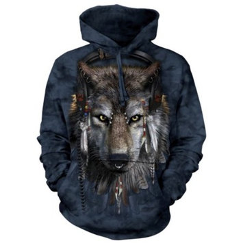 Black Cotton Blend Dj Wolf Awesome Animal Hoodie Cool (Small)
