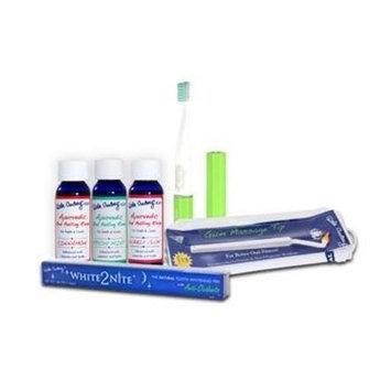 Dental Travel Kit: By Dale Audrey, Quick Sonic Toothbrush, Ayurvedic Oral Pulling Rinse (3) 1 Oz, White2nite Tooth Whitener, Gum Massager, Ayurvedic Toothpaste Sample Mint