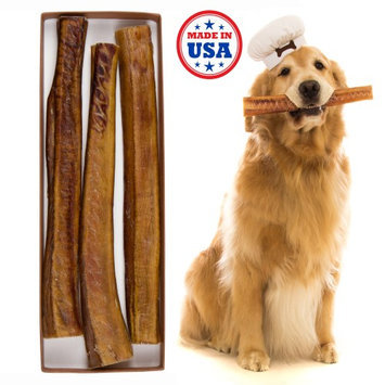Wag Haus Premium Thick Bully Sticks For Dogs Made In USA All Natural Dog Treats, Set of 3 12 inch