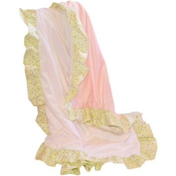 Go Mama Go Designs Luxurious Wild Thing Pink & White Minky Blanket with Floral Print Ruffle