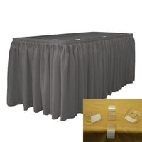 LA Linen SKT-Pop-17x29-10Lclips-CharcoalP34 Polyester Poplin Table Skirt with 10 L-Clips, Charcoal - 17 ft. x 29 in.