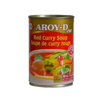 AROY-D Authentic Ready-Made Thai Red Curry Soup, 14 Ounce - Just Add Meat [Red]