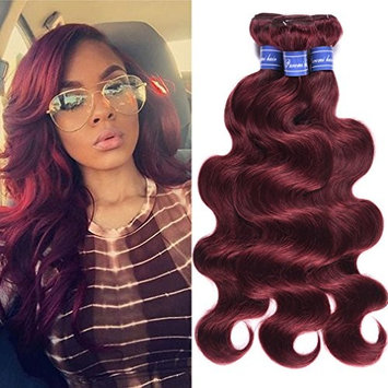 99j Red Wine Brazilian Body Wave Virgin Hair 3pcs 100% Remy Human Hair Weave Bundles Burgundy #99j 8-26inch Puromi Hair (14 16 18)