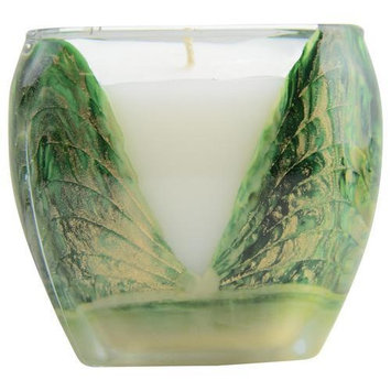 Wreath Green Cascade Candle The Inside Of This 4 Inch Glass Candle Is Painted With Wax To Create Swirls Of Gold And Rich