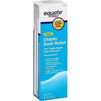 Equate Creamy Diaper Rash Ointment Zinc Oxide Compared to Desitin Rapid Relief Zinc Oxide Diaper Rash Cream (2 Pack)