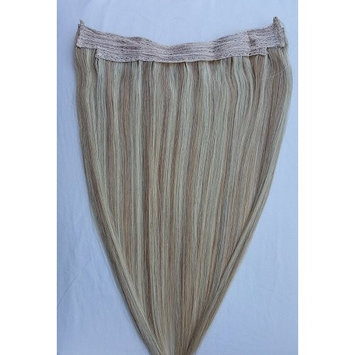 Hair Faux You 20inches 100% Human Hair Extensions, 100 Grams,Halo Style (ONE PIECE) with an adjustable invisible wire (Fishing String) #18/613 Dark Blonde with Platinum Blonde
