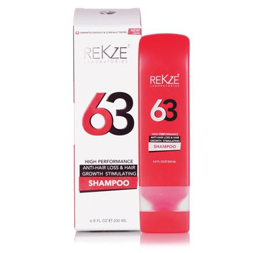 REKZE 63 Hair Growth Shampoo & Anti-Hair Loss Clinically Proven For Men & Women, For Thinning Hair, Thickening & ReGrowth, Strong DHT Blocker Product With Biotin, Emu Oil, Zinc, Caffeine