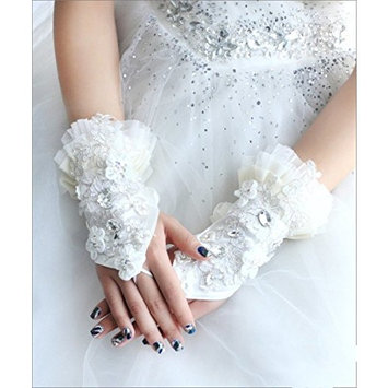 Exquisite Selebrity Fingerless Lace Rhinestone Sequins Bridal Gloves