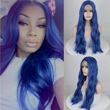 Party Queen Blue Lace Front Wig Women Long Synthetic Realistic Wavy Glueless Hair Replacement Wigs 24