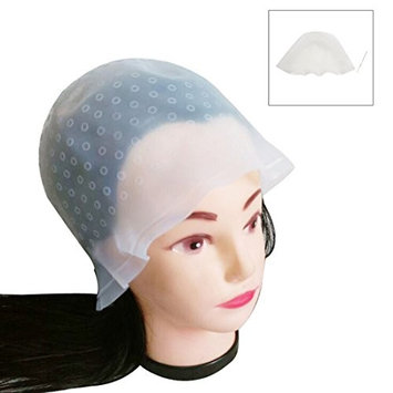 uxcell White Silicone Unisex Dye Hat Hair Highlighting Hairdressing Cap Styling Tool w Hook