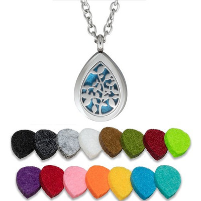 Plant Guru Essential Oil Diffuser Necklace Aromatherapy 25mm Stainless Steel Locket Pendant with 24 Inches Adjustable Chain, 15 Washable Refill Felt Pads. (Tree Drop)