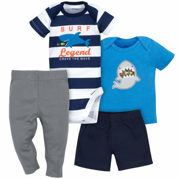 born Baby Boy Bodysuit, Shirt, Shorts & Pants, 4pc Set