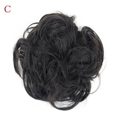 dzt1968 Women Curly elastic Bun Twirl Piece Scrunchie Wigs Extension Hairdressing (C)