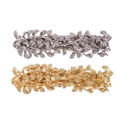 Hair Clips, Hair Barrettes Silver and Glolden 2-Count French Barrette For Women and Girls By yigou beauty