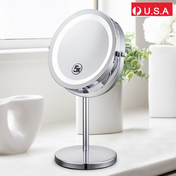 Vanity Makeup Mirror, Double-Sided Round Shaped 5x Magnifying Cosmetic Mirror with LED Light and Adjustable Swivel Stand(Chrome Finish)