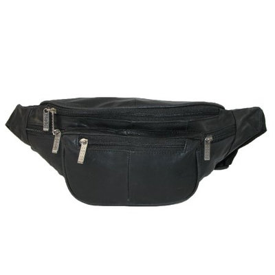 Unisex Leather Extra Large Fanny Waist Pack with Nylon Strap