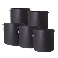Hydro Crunch 19 in. x 21 in. 30 gal. Breathable Fabric Pot Bags with Handles Black Felt Grow Pot (5-Pack)