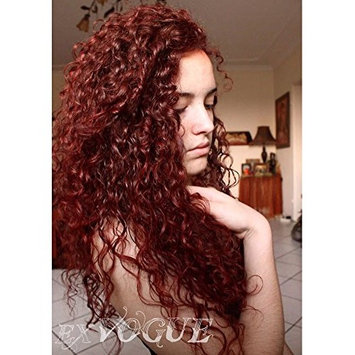 Exvogue Long Curly Dark Wine Red Wigs for Women Natural Hairline Synthetic Lace Front Wig Heat Friendly 100% Fiber Hair #350 Color