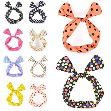 Ewandastore 10 pcs Twist Bow Wired Rabbit Ear Ribbon Headbands Scarf Wrap Hair Accessory Hairband