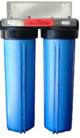 Premier DUAL BIG BLUE WATER FILTER Housing 4.5 X 20 / 1' with PR Bracket and wrench