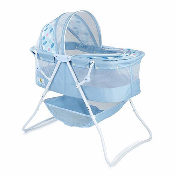 Big Oshi Emma Newborn Baby Bassinet - Portable Bassinet for Boys or Girls - Perfect for Bedside, Indoors, or Outdoors - Lightweight for Travel - Canopy Netting Cover - Wood Bed Base, Blue Circles [Portable Bassinet]