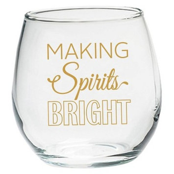 Kate Aspen (Set of 4) Making Spirits Bright 15oz. Stemless Wine Glass