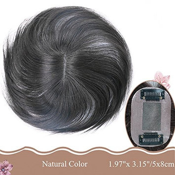 Moreal 6 Inch Straight Human Hair Top Wiglets Hand Tied Clip in Crown Topper for Women Thinning Hair and Grey Hair (5x8cm, Off Black)