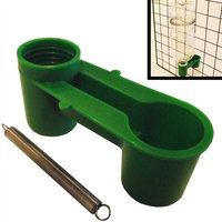 4 Pack Of Green Soda Pop Water Bottle Bird Drinker Cups & Mounting Springs