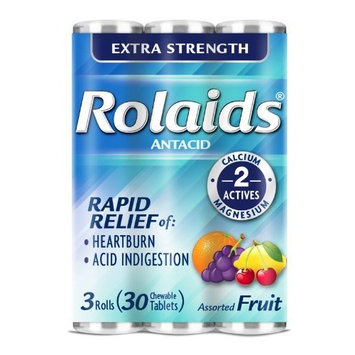 Rolaids Extra Strength Tablets, Fruit, 3 Count (Pack of 12)