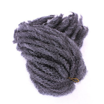 18 inch 100g Afro Kinky Curly Twist Hair Crochet Braids Marley Braid Hair Extension Senegalese Twist Crochet Braiding Hair Bouncy Curls Hair Kinky Curly Bulk Twist Crochet Braids Hair ExtensionsGray