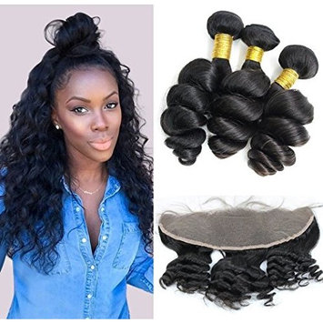 Coco's Hair Loose Wave Lace Frontal Closure with 3 Bundles Hair Weave Virgin Brazilian Hair 4Pcs/lot Remy Human Hair Natural Color(14