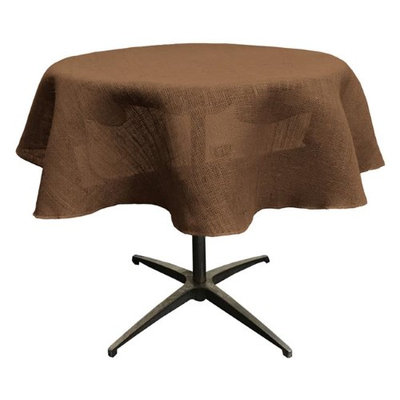 LA Linen TCBurlap51R-Brown Round Dyed Natural Burlap Tablecloth Brown - 51 in.
