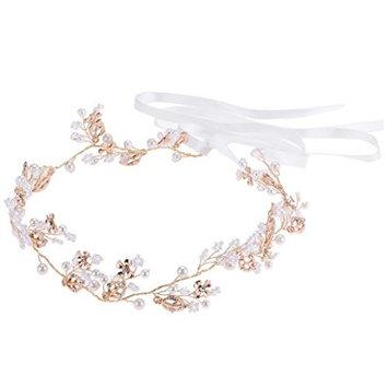 MagiDeal Diamante Rhinestone Pearl Headband Wedding Bridal Tiara HairBand HeadPiece Gift